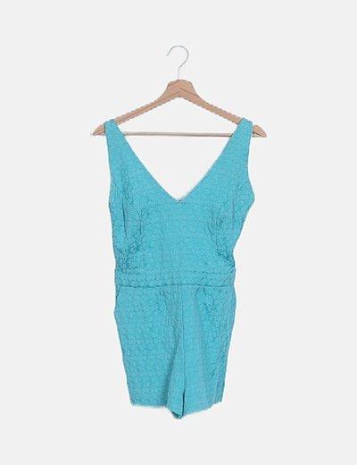 Mono corto turquesa crochet texturizado