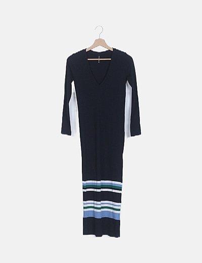 Vestido maxi azul marino canalé