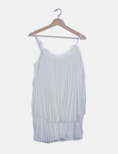 Vestido blanco plisado