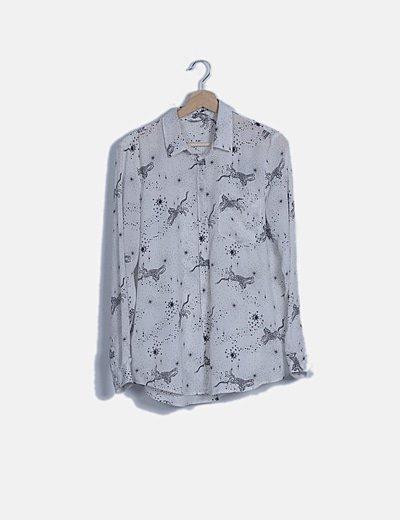 Camisa blanca print combinado