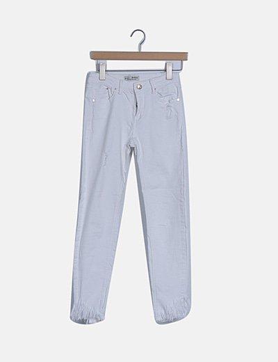 Jeans skinny blanco desflecado