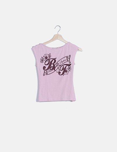 Camiseta rosa estampada granate