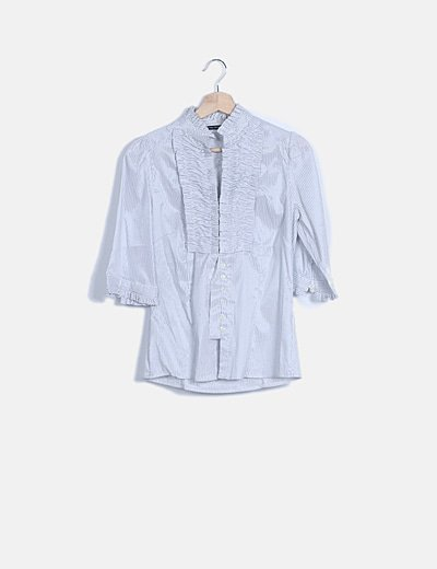 Camisa rayas solapa fruncida manga larga