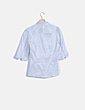 Camisa rayas solapa fruncida manga larga Lefties