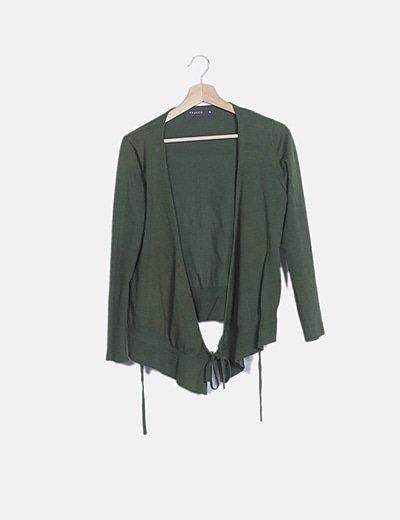 Chaqueta verde tricot cruzada