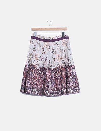Falda midi estampada texturizada