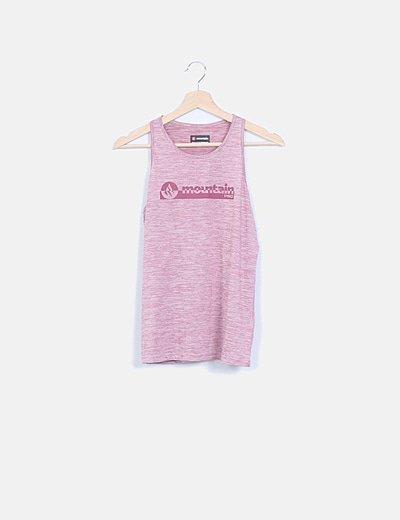Camiseta tirantes jaspeada burdeos