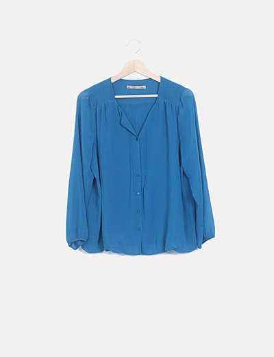 Camisa fluida plisada azul petroleo