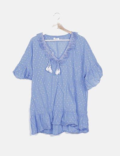 Blusa azul desflecada print glitter