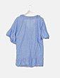 Blusa azul desflecada print glitter Women'secret