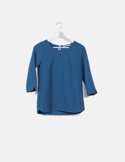 Camiseta turquesa texturizada