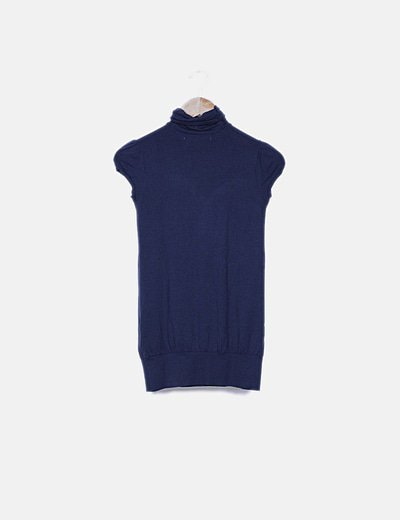 Vestido azul ceñido manga abullonada