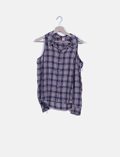 Camisa asimétrica soft hand de cuadros