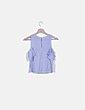 Blusa asimétrica cuadro vichy azul Bershka