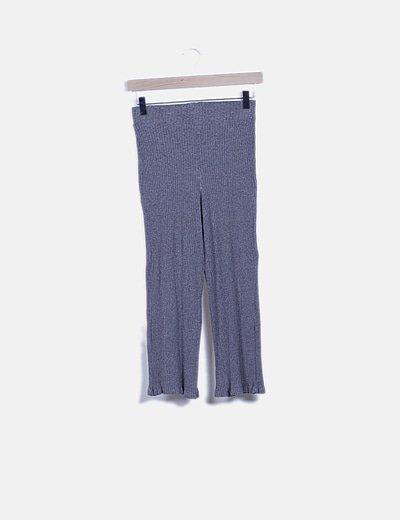 Pantalón pirata fluido gris canalé