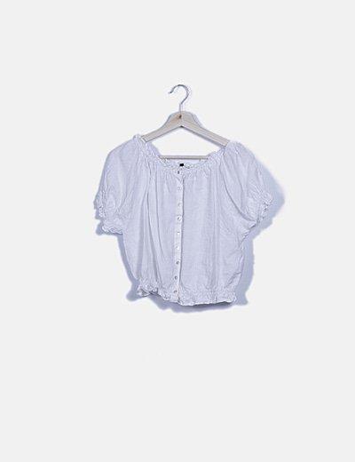 Blusa bardot blanca abotonada
