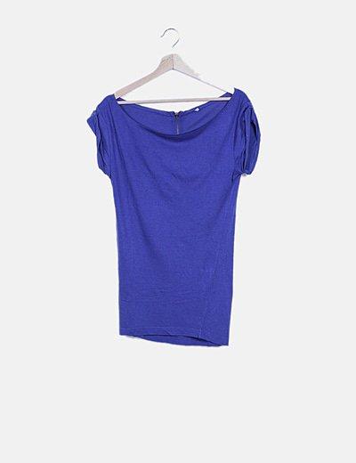 Camiseta larga azul