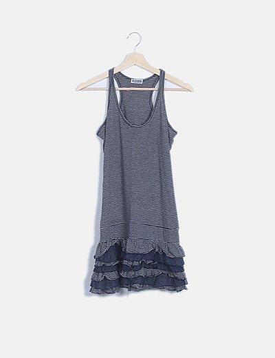 Vestido gris raya