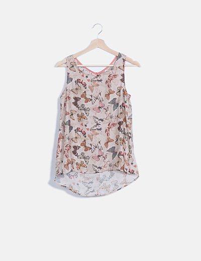 Camiseta fluida beige print mariposas