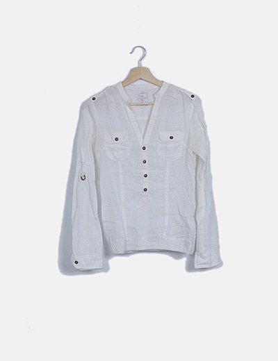 Blusa blanca con elásticol