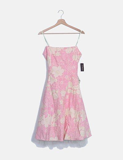 Vestido midi estampado flores combinado tul