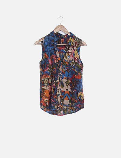 Blusa estampada semitransparente