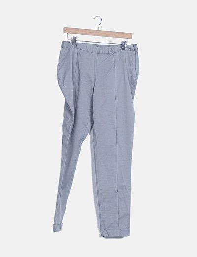 Pantalón gris pinzas cremallera lateral
