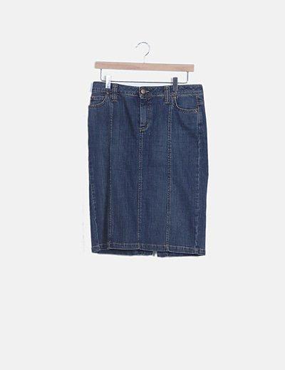 Falda denim azul bolsillos
