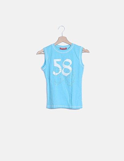 Camiseta azul strass