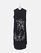 Vestido satén negro bordado floral Zara