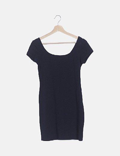 Vestido mini azul marino manga corta