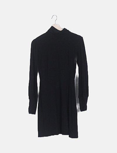 Vestido negro midi manga larga