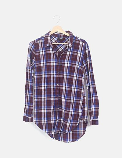 Camisa manga larga cuadros burdeos