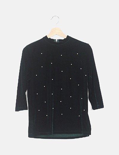 Suéter verde velvet perlas