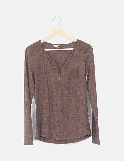 Camiseta manga larga jaspeada marrón