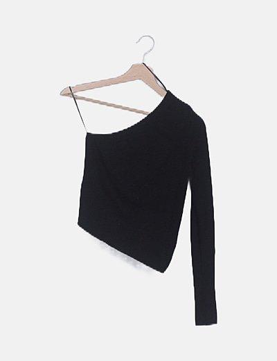 Suéter asimétrico canalé negro
