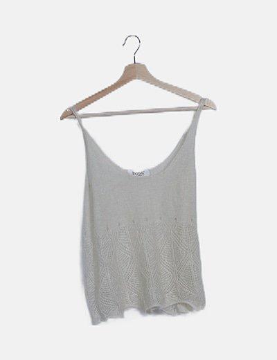 Blusa blanca tricot detalles troquelados