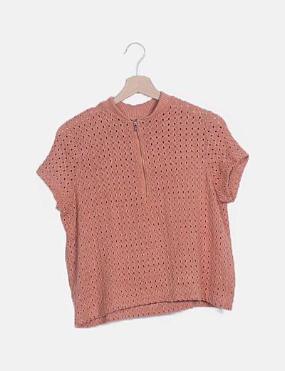 Suéter tricot salmón manga corta