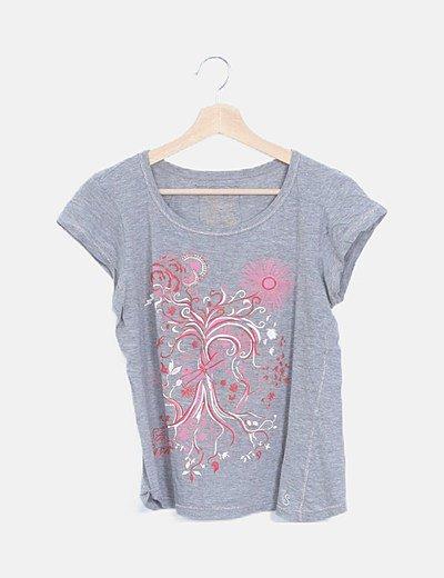 Camiseta gris estampado flor rosa