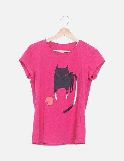 Camiseta rosa estampado gato manga corta