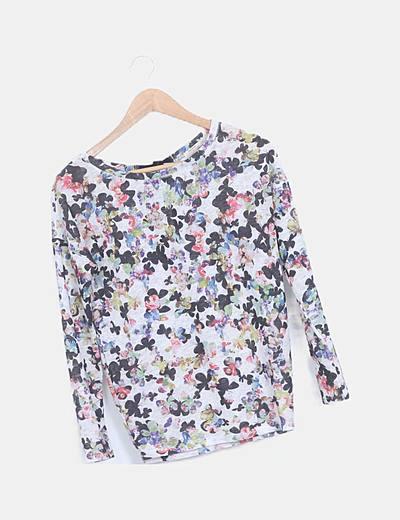 Suéter estampado floral manga larga abertura espalda