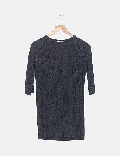 Vestido midi gris oscuro mang alarga