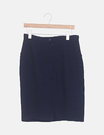 Falda midi azul marina cremallera