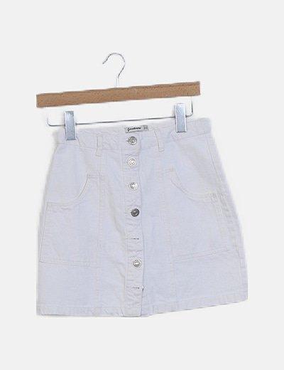 Falda denim blanca botones