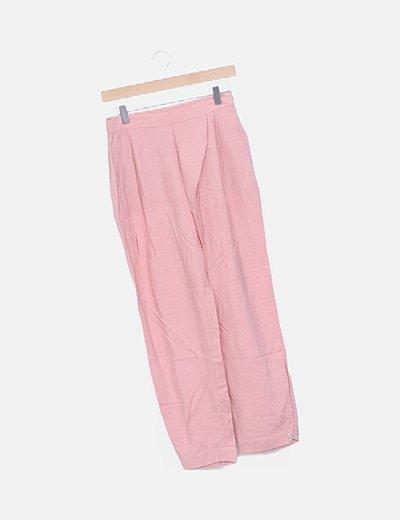 Pantalón rosa baggy largo