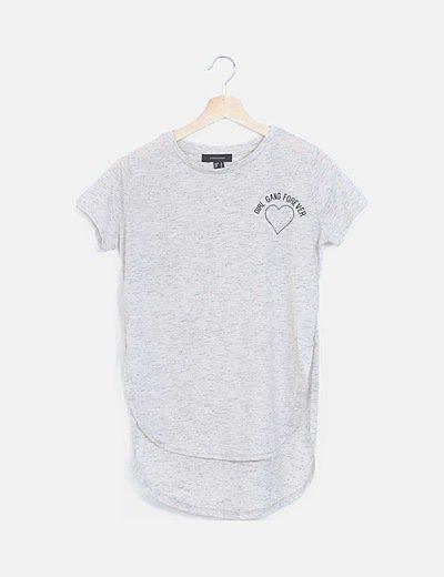 Camiseta gris jaspeada manga corta