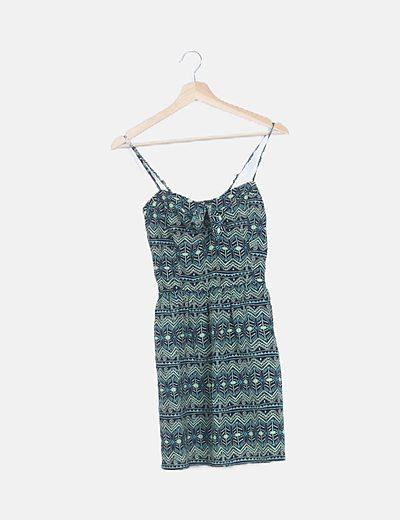 Vestido mini tirantes estampado verde