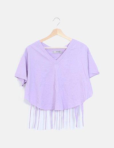 Camiseta lila flecos espalda manga corta