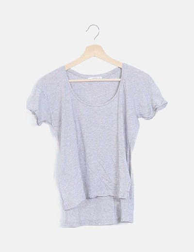 Camiseta tail hem gris manga corta