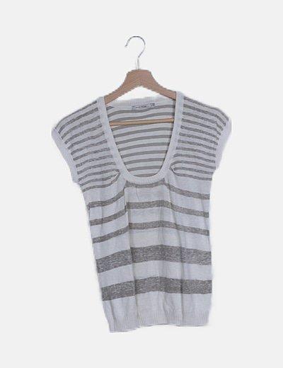 Top raya horizontal gris blanco